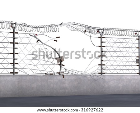 Electric fence ripped apart during a break-in - 3D render. - stock photo