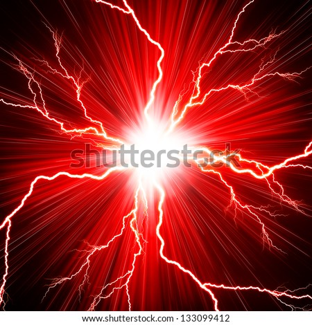 Electric flash of lightning on a red background - stock photo