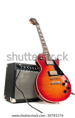 Electric guitar and amplifier isolated on a white - stock photo