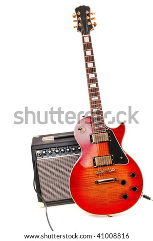 Electric guitar and amplifier isolated on a white