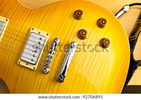 Electric guitar body closeup