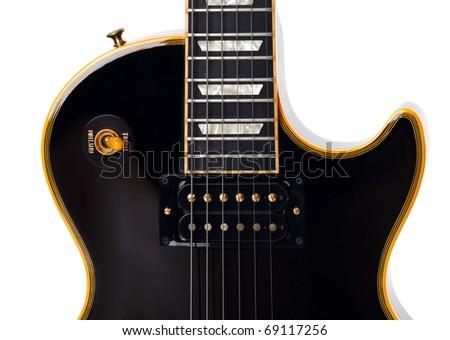 Electric guitar closeup on white - stock photo