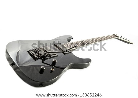 Electric guitar detail shots over white backdrop - stock photo