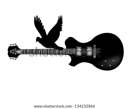 Electric guitar ,flying bird icon - stock photo