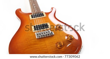 Electric guitar isolated on white background - stock photo