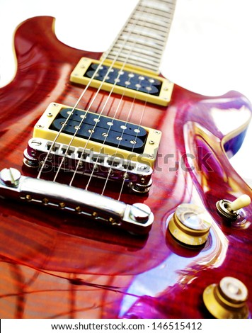 Electric guitar isolated over white background - stock photo