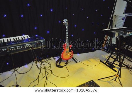 electric guitar on a stage - stock photo