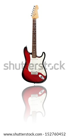 Electric Guitar on white background with reflection, redburst - stock photo