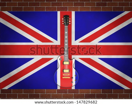 electric guitar painted English flag on the background of the English flag