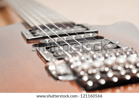 Electric guitar strings closeup - stock photo
