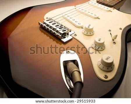 electric guitar wide angle vintage sunburst color - stock photo