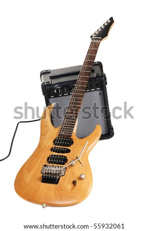 Electric guitar with amplifier, white background - stock photo