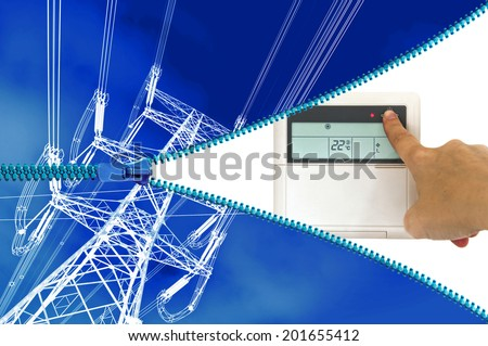 Electric heating or cooling system concept - stock photo