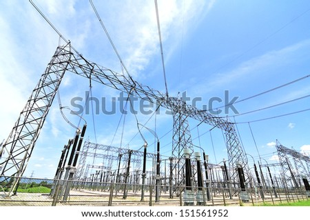 Electric high voltage on blue sky