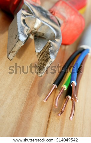 Electric installation, close up of electrical wire