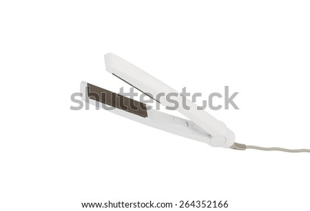 electric iron for hair isolated on white - stock photo