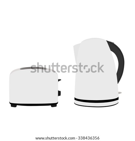Electric kettle and bread toaster raster illustration. White kettle and toaster icon. Kitchen equipment. - stock photo