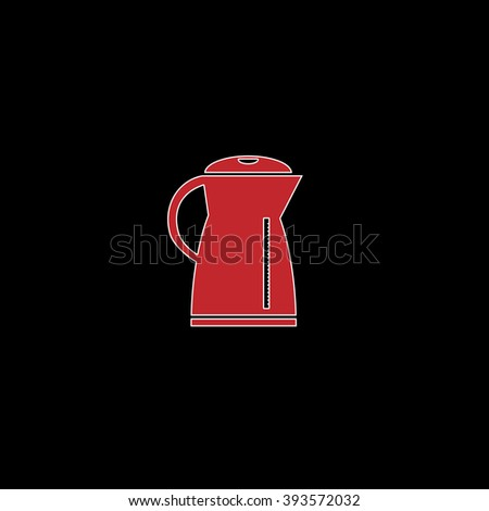 Electric kettle. flat symbol pictogram on black background. red simple icon with white stroke