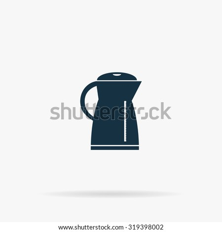 Electric kettle. Flat web icon or sign on grey background with shadow. Collection modern trend concept design style illustration symbol