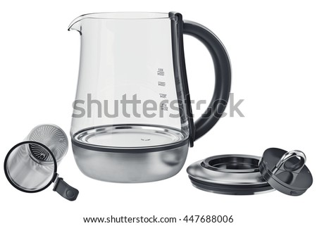 Electric kettle with modern plastic cover, open view. 3D graphic
