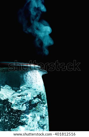 Electric Kettle With Steam - stock photo