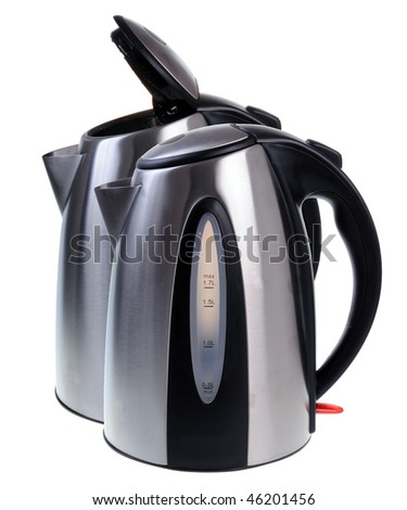 Electric kettles isolated on white background - stock photo