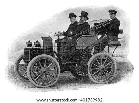 Electric Landaulet, vintage engraved illustration. Industrial encyclopedia E.-O. Lami - 1875.