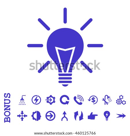 Electric Light glyph icon. Image style is a flat iconic symbol, violet color, white background.