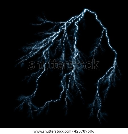 Electric lightning strike on black background. - stock photo