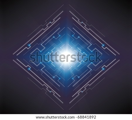 electric lines and geometric shape background design - stock photo