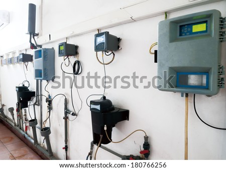 Electric measuring devices and switches. - stock photo