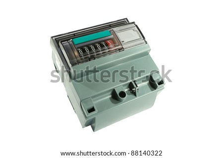 Electric meter electromechanical isolated on white background. - stock photo