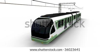 electric modern city tram isolated