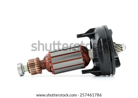 Electric motor rotor in Drill on white background - stock photo