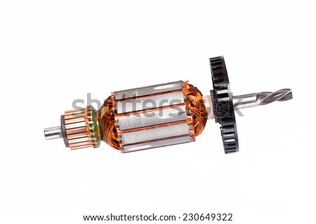 Electric motor rotor isolated on white - stock photo