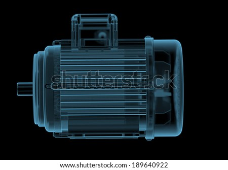 Electric motor with internals x-ray blue transparent isolated on black - stock photo