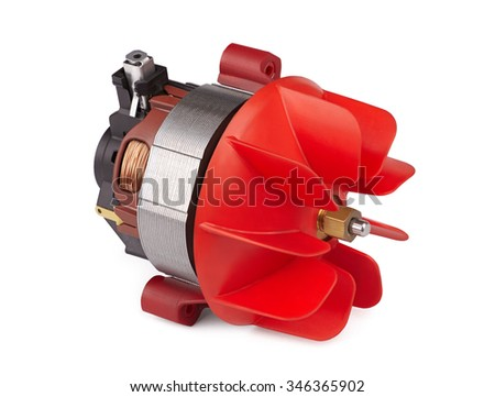 electric motor with the impeller, small air turbine, closeup isolated on white