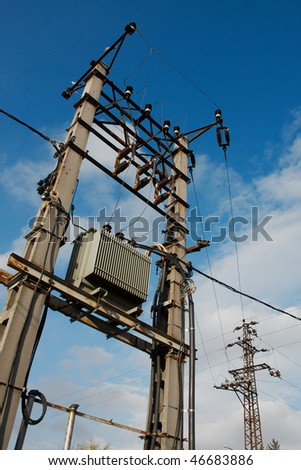 Electric network pillar with transformer - stock photo