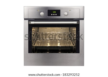 Electric oven isolated on white background. - stock photo