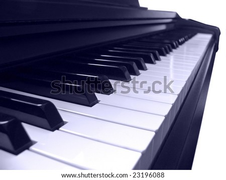 Electric piano keyboard isolated on a white background. - stock photo