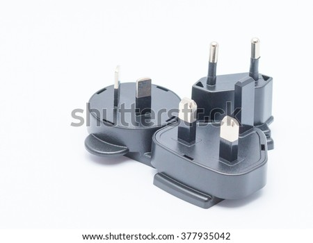 Electric plug adapter, isometric 2 and 3 pin plug isolated on white background