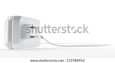 electric plug for electronic devices on white background - stock photo