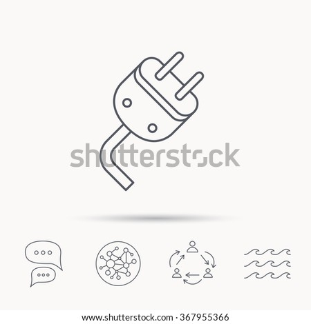 Electric plug icon. Electricity power sign. Cord energy symbol. Global connect network, ocean wave and chat dialog icons. Teamwork symbol. - stock photo