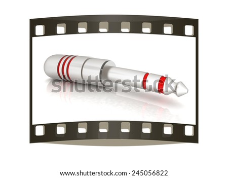 Electric plug on a white background. The film strip - stock photo