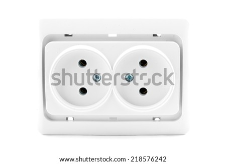 electric plug outlet on white background with clipping path  - stock photo
