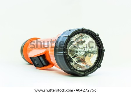 Electric Pocket Flashlight isolated on white background - stock photo