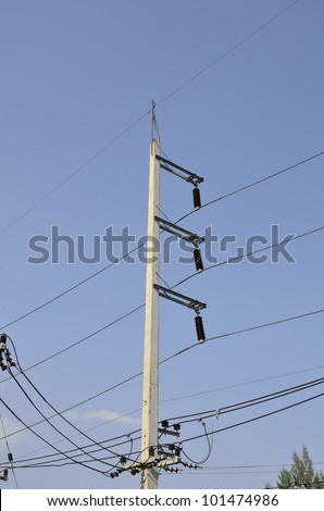 Electric pole and blue sky - stock photo