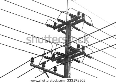 Electric pole wires black and white on white background.