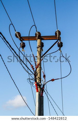 Electric post  - stock photo