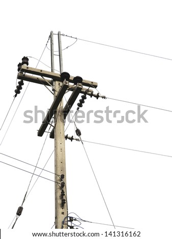 electric post isolated on white background
